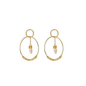 Double Hoop Earrings 18k Gold with Cubic Zirconia and Simulated Pearl with FREE Shipping!