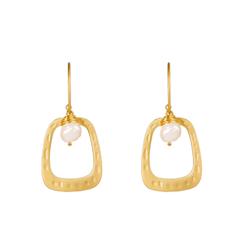 Drop Hoop Earrings Matte Gold with Baroque Pearl with FREE Shipping!