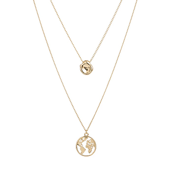 Gold Layered Necklace with Globe Pendant with FREE Shipping!