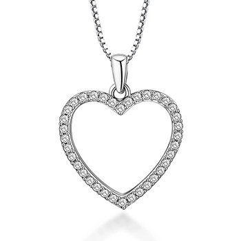 Dainty Crystal Heart Necklace Gold Plated with Cubic Zirconia with FREE Shipping!