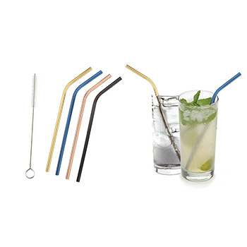 Colored Platinum Stainless Steel Straws With Brush (5-Pack) - $12.99 with FREE Shipping!
