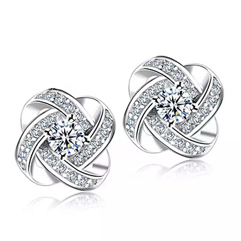 White Gold and Crystal Love Knot Stud Earrings - $22.13 with FREE Shipping!