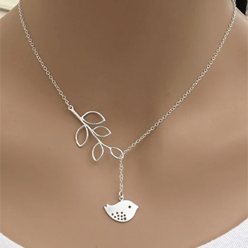 White Dove with Olive Branch Silver Tone Lariat Necklace - $24 with FREE Shipping!