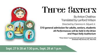 Bethel University Theater Presents Three Sisters Sept 28th